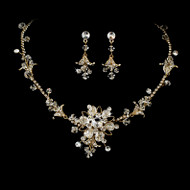 Gold Plated Crystal and Rhinestone Wedding Jewelry Set