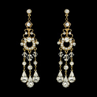 Gold Plated Crystal Bridal Chandelier Earrings