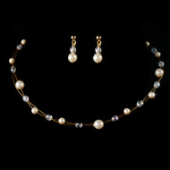 Gold with Ivory Pearls and Crystals Flower Girl Jewelry Set