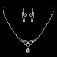 Interlocking Circles CZ Wedding Jewelry Set