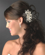 Glistening Ivory and Rum Pink Floral Pearl Bridal Hair Comb