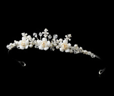 Ivory and Rum Pink Porcelain Pearl Flower Girl Tiara