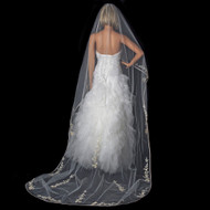 Ivory Cathedral Length Wedding Veil with Floral Embroidery