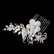 Ivory Coin Pearl and Crystal Bridal Hair Comb - sale!