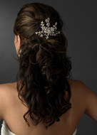 Ivory Crystal Pearl Flower Bridal Hair Comb