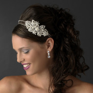 Dramatic Ivory Pearl and Crystal Side Accent Wedding Headband