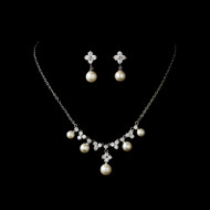 Ivory Pearl and CZ Wedding Jewelry Set