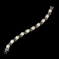 Exquisite Ivory Pearl and CZ Bridal Wedding Bracelet