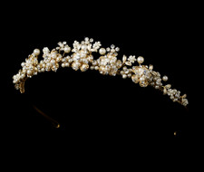 Ivory Pearl Bouquet Gold Plated Bridal Tiara