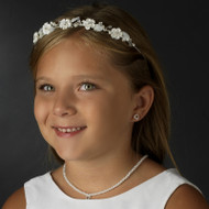 Ivory Porcelain Flower Girl Tiara Headband