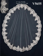 Silver Thread Alencon Lace Mantilla Wedding Veil V5655