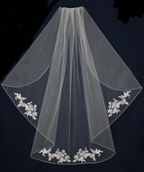 Custom Made Alencon Lace Flutter Cut Wedding Veil V5681