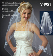 JL Johnson Bridals V4981 Wedding Veil with Beaded Lace