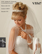 JL Johnson Bridal V5547 Crystal Drop Fingertip Wedding Veil