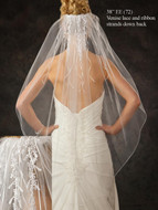 JL Johnson Bridal Fingertip Length Veil V5360 with Venise Lace