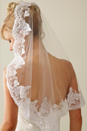 "JL Johnson Lace Mantilla 24"" Shoulder Length Wedding Veil"