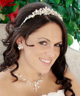 Keshi Pearl Beach Wedding Tiara and Jewelry Set
