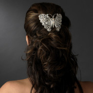 Dazzling Crystal Butterfly Wedding Barrette - sale!