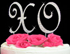 "Large Crystal Covered ""XO"" Wedding Cake Topper"