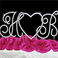 Crystal Renaissance Heart and Initials Wedding Cake Topper