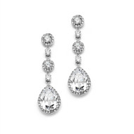Mariell CZ 400E Wedding and Prom Earrings - Pierced or Clip