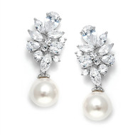 Chic CZ Cluster Wedding Earrings with Pearl Drop 3530E