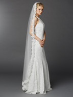 Floor Length Beaded Embroidered Lace Wedding Veil 3325V