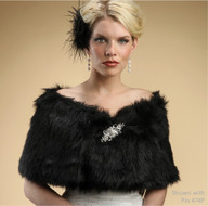 Mariell Jet Black Faux Fur Wrap Wedding Formal Stole
