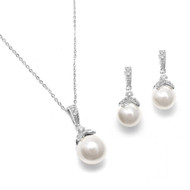 Classic Pearl and CZ Wedding Jewelry Set