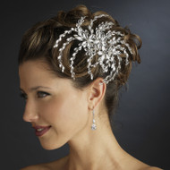 Dazzling Marquise Rhinestone Floral Wedding Side Comb