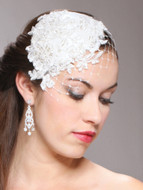 Mariell Lace and Silk Bridal Cocktail Hat with Netting 3912H