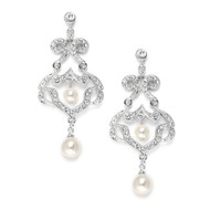 Mariell CZ Chandelier Earrings with Ivory Pearls 3829E