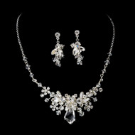 Silver or Gold Plated Ice Crystal Bridal Jewelry Set