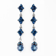 Dainty Navy Blue Crystal Drop Wedding Earrings