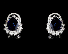Navy Blue Rhinestone Stud Wedding and Formal  Earrings