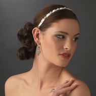 Narrow Satin Ribbon Bridal Headband with Rhinestones