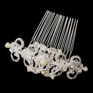 Vintage Style Silver and Pearl Wedding Brooch Comb