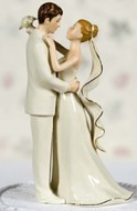 Elegant Porcelain Bride and Groom Wedding Cake Topper