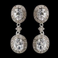 Oval CZ Crystal Drop Wedding Earrings