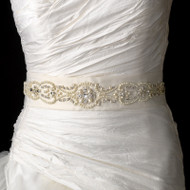 Pearl and Crystal Jeweled Bridal Sash Satin Wedding Belt