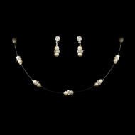Pearl and Rhinestone Illusion Flowergirl Jewelry Set