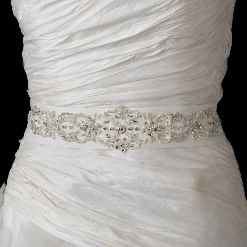 pearl and rhinestone beaded wedding dress belt sash