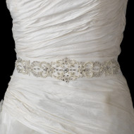 Elegant Pearl and Rhinestone Beaded Wedding Dress Belt Sash