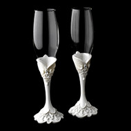 Victorian Lace Wedding Toasting Flutes Glasses