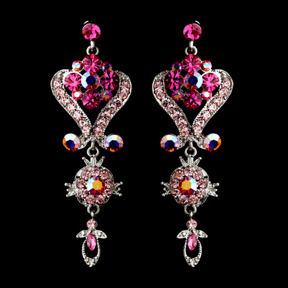 Dazzling Pink Chandelier Wedding And Prom Earrings Image 1