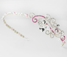 Pink Crystal Side Accent Bridal Headband