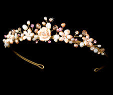Pink Porcelain Floral Gold Plated Bridal Tiara - sale!