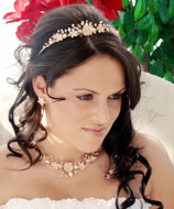 Pink Porcelain Wedding Tiara with Matching Jewelry