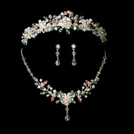 Pink Crystal Wedding Tiara and Jewelry Set