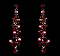 Red Austrian Crystal Drop Earrings for Weddings or Prom